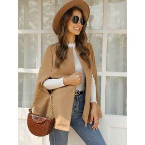 Cape coat camel brown jacket tan